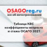 Таблица КВС - коэффициенты возраста и стажа ОСАГО 2021